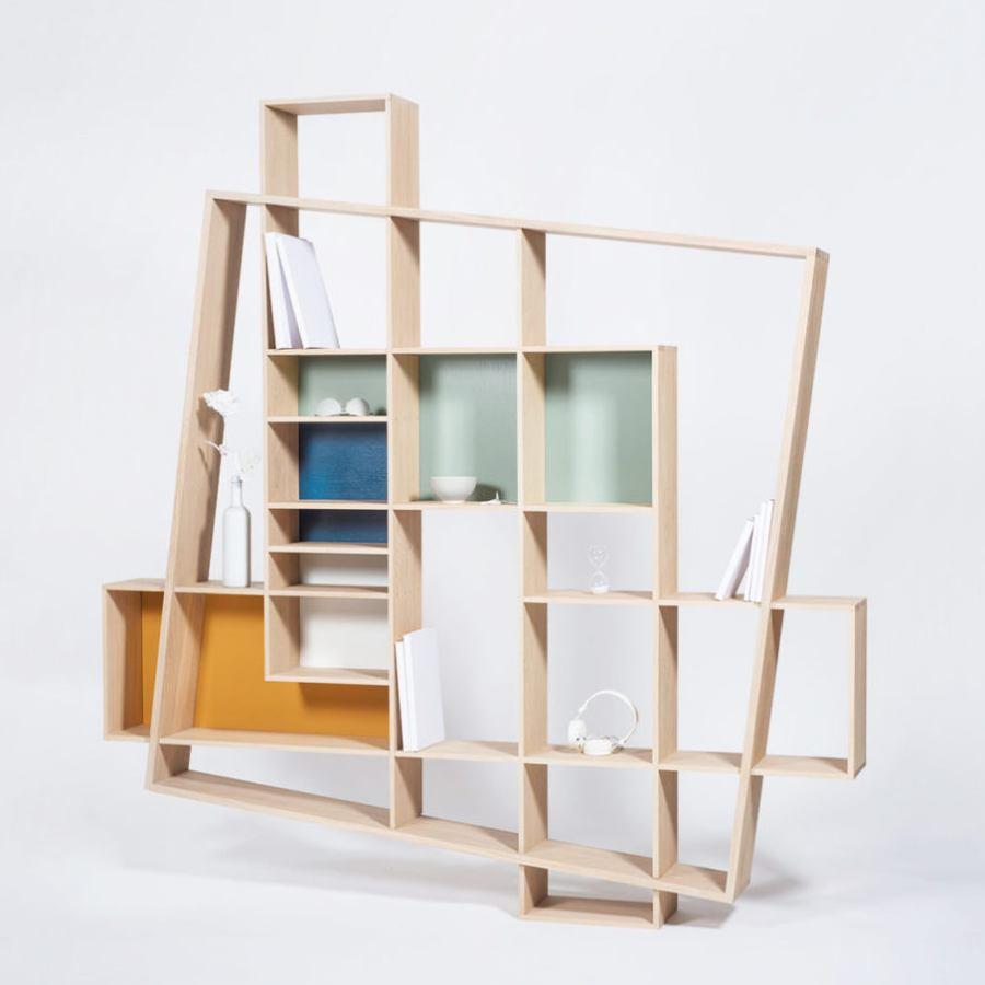 Tilted Bookshelf Made Of Solid Oak Wood