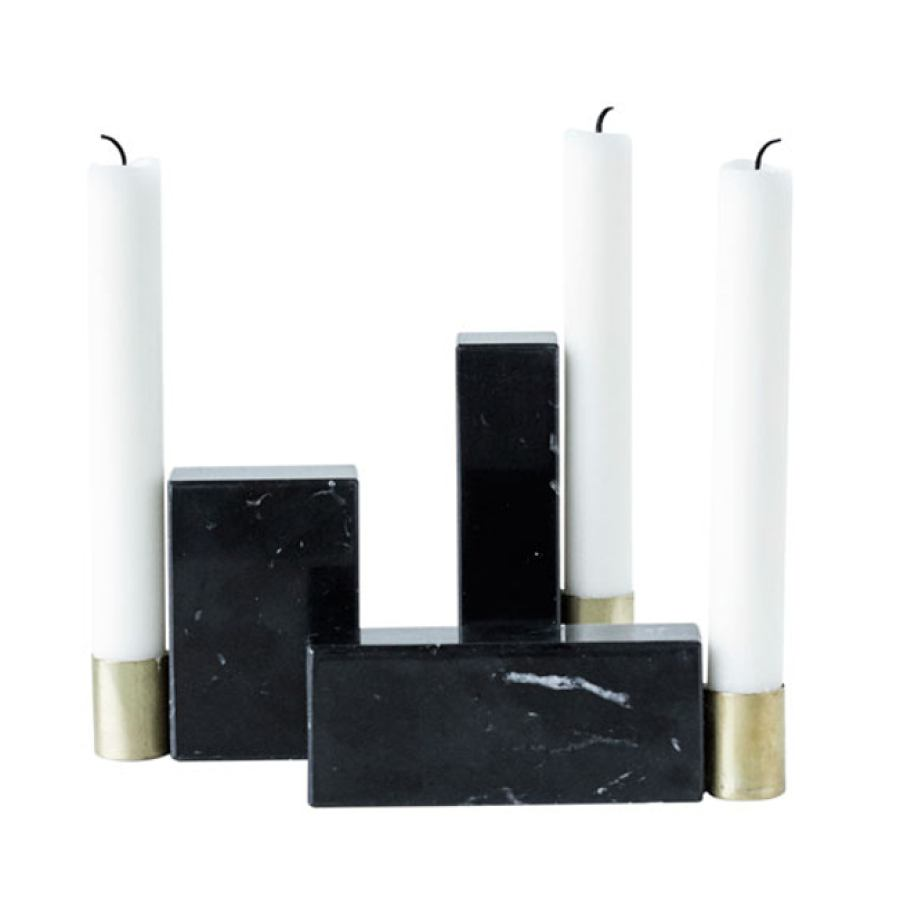 Three Candlesticks of Marble and Brass