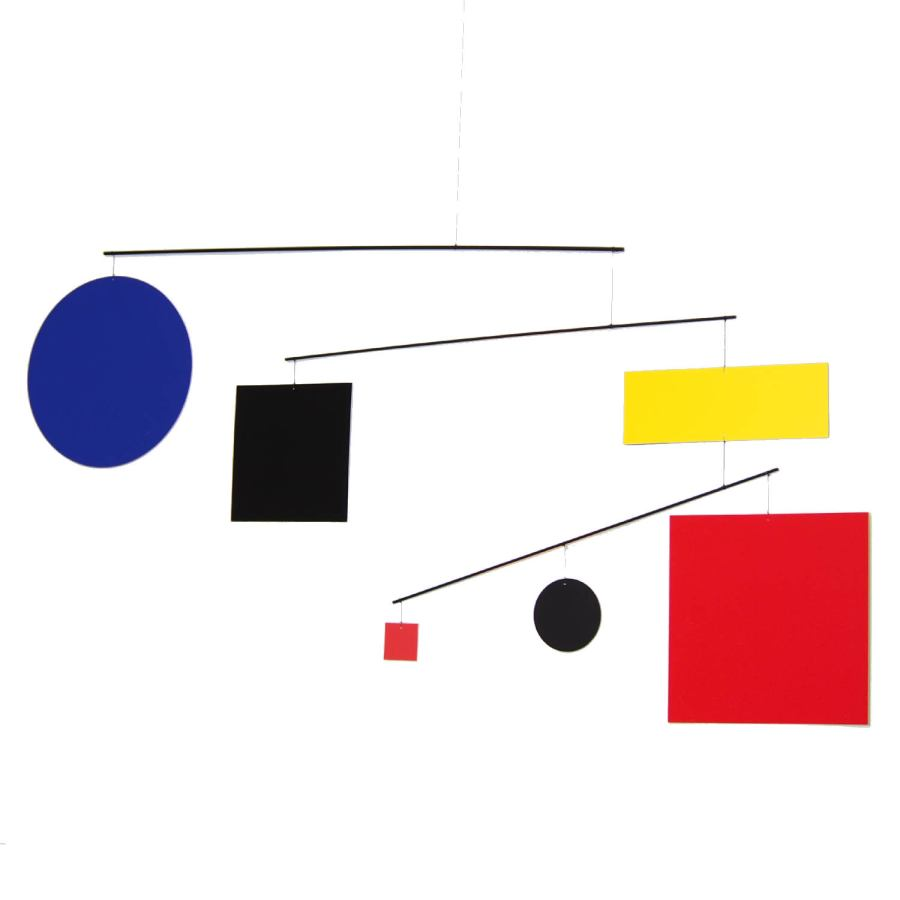"Large Art Mobile ""Circle Square Guggenheim"" referencing Mondrian (105 x 50 cm)"
