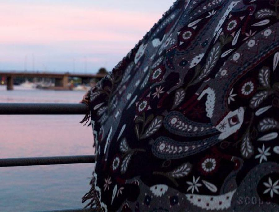 Woven Shawl with Rabbit Motif (Black) made of Wool & Silk