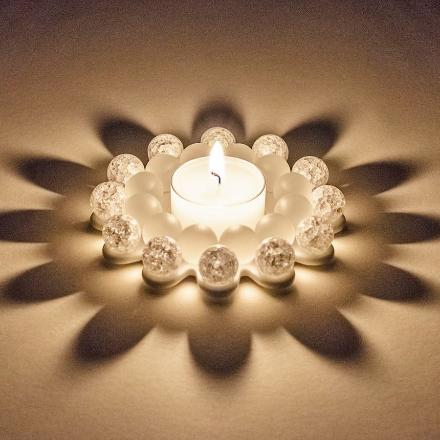 "Tealight Candler Holder ""Glass Bead Star"" with Beautiful Light Refraction – Rock Crystal"