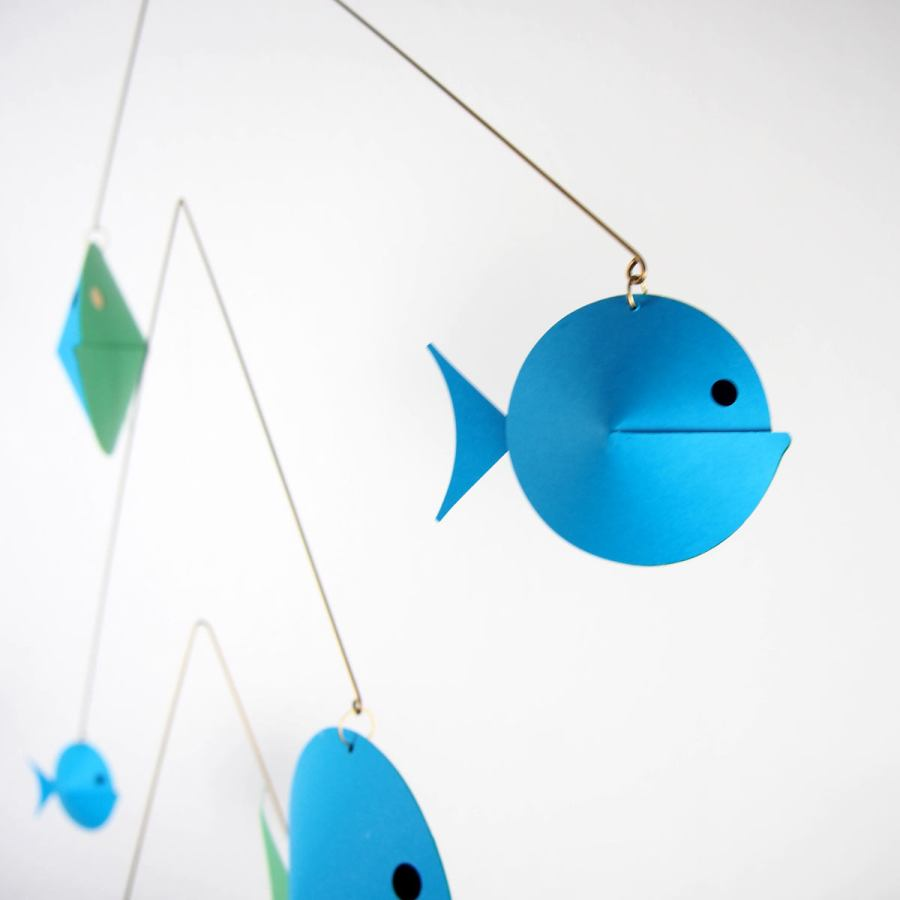 Large fish swarm mobile for babies and children