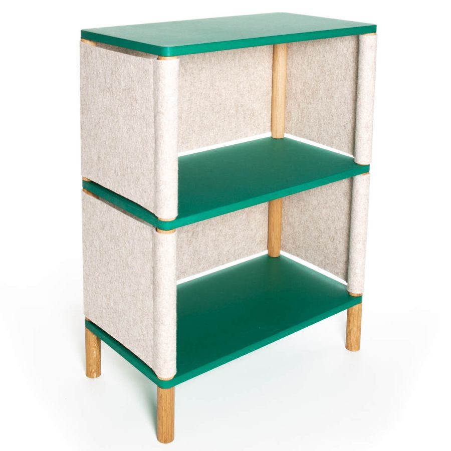 "Low Modular Children's Shelf ""Théo"" made of Solid Oak and Wool Felt"