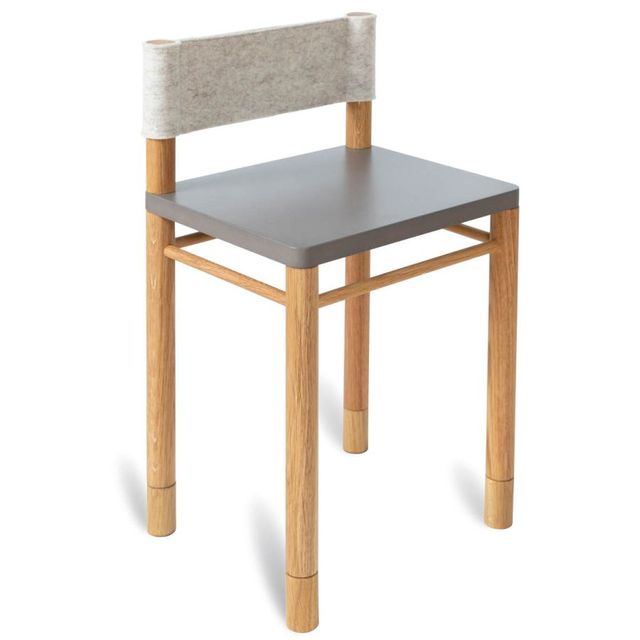 Grey version with extension: Solid wood children's chair with wool felt backrest