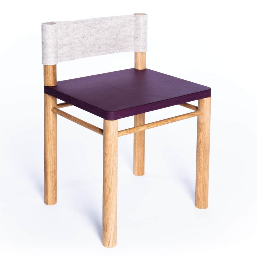 Purple version: Solid wood children's chair with wool felt backrest