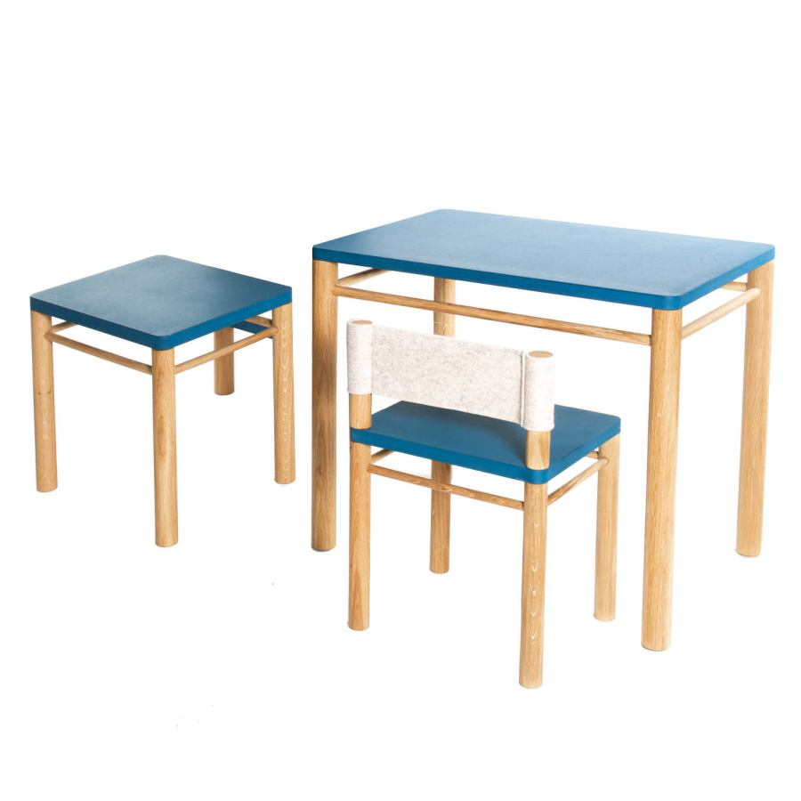 Natural Children Furniture as Set (Table, Chair, Stool)