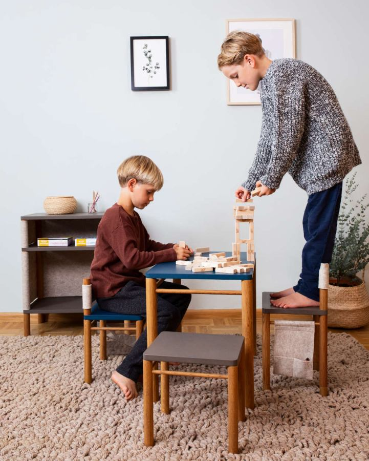 Shown here with matching table and stool