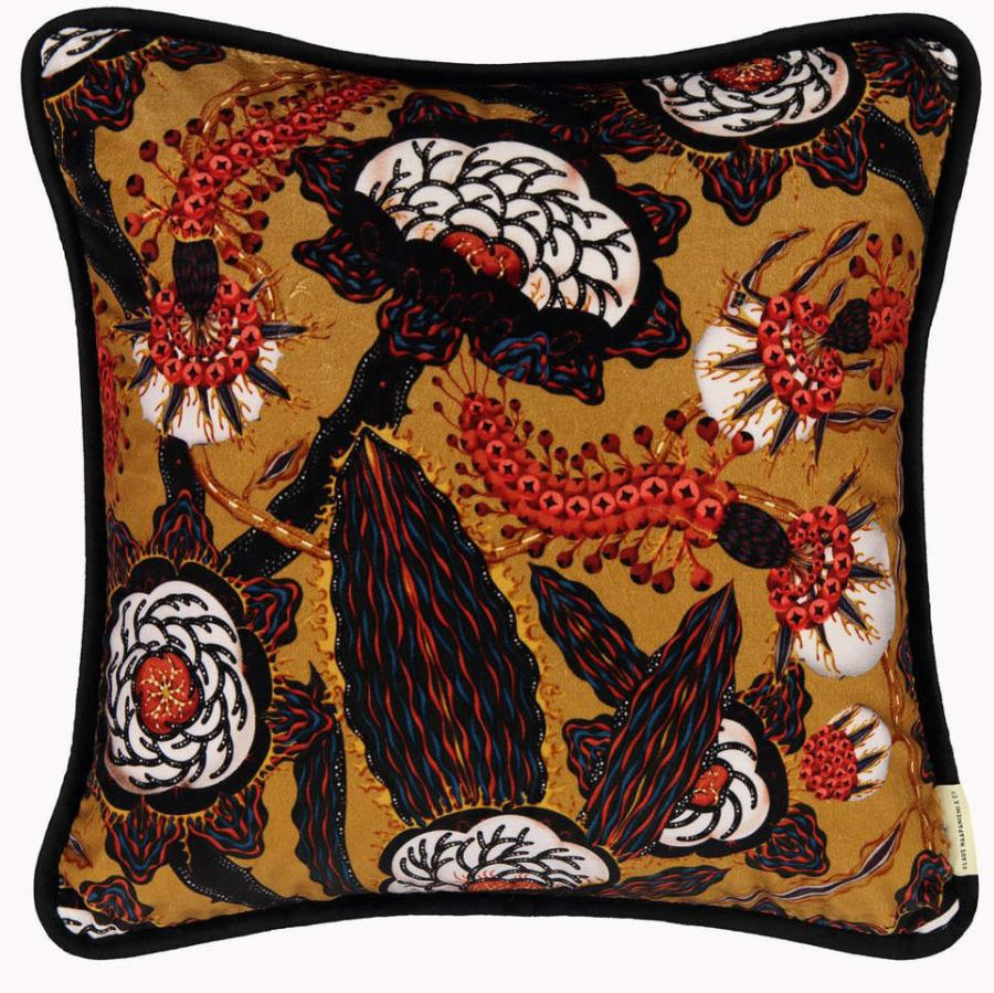 "Art Print Sofa Cushion ""Psychotria Elata"" (Brown) made of Velvet (50 x 50 cm)"