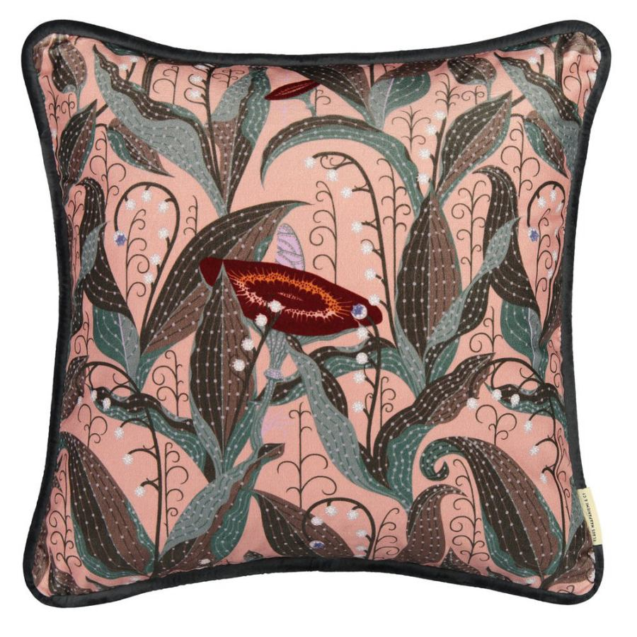 "Sofa Cushion Sleeve ""Lily of the Valley"" (bright) made of Cotton Velvet (50 x 50 cm)"