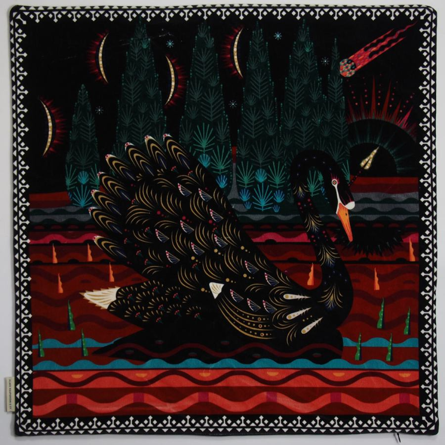 "Exclusive Cushion sleeve  ""Black Swan"" made of Velvet (60 x 60 cm)"
