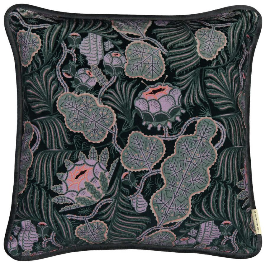 "Sofa Cushion ""Iceflower"" (Emerald-Green) made of Fine Velvet (50 x 50 cm)"
