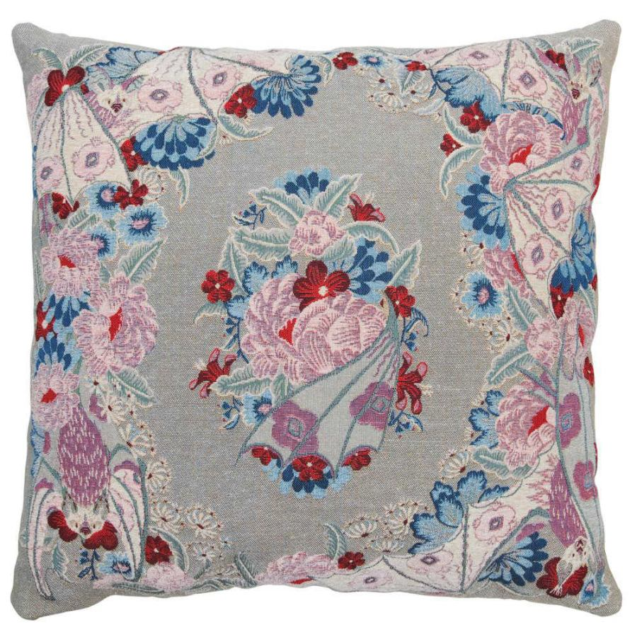 Exclusive Grey Tapestry Cushion with Flowers (60 x 60 cm)