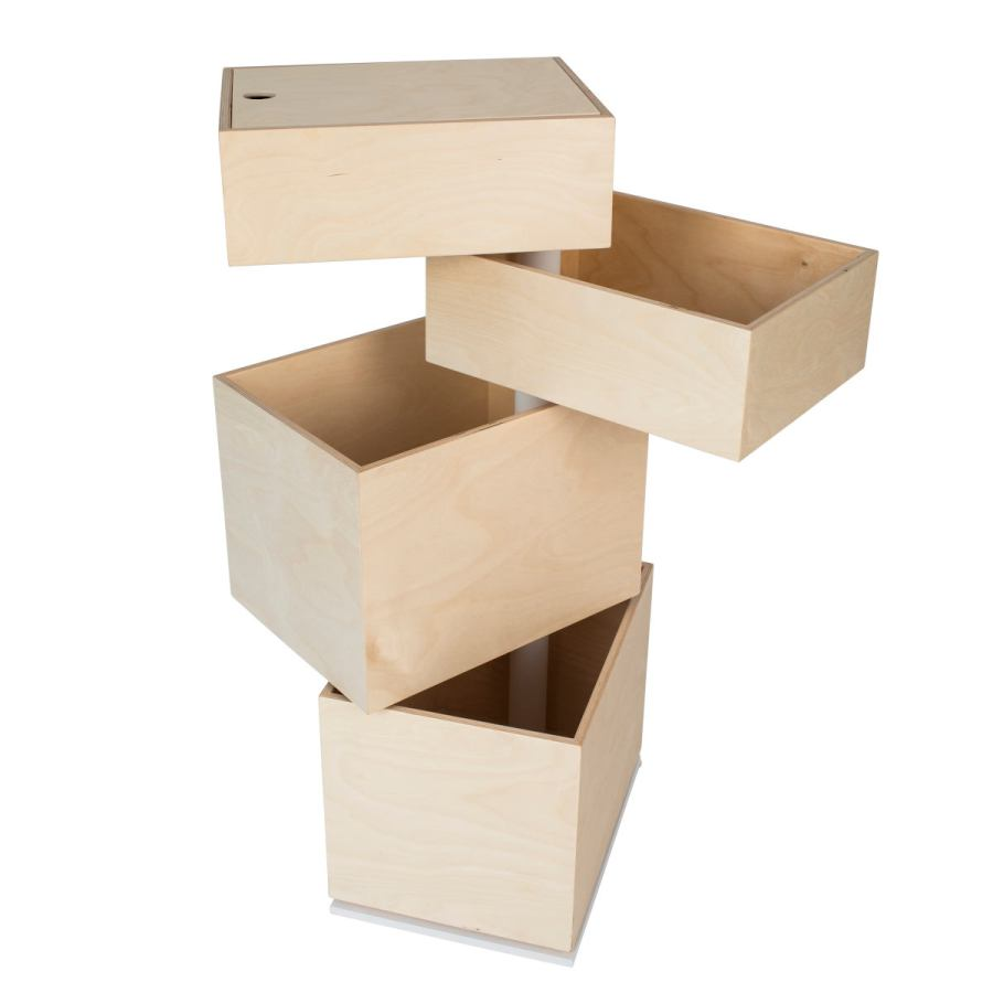 Storage Tower with Four Rotating Wooden Boxes