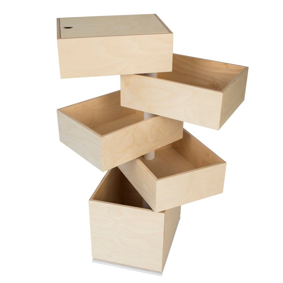 Storage Tower with Five Rotating Wooden Boxes