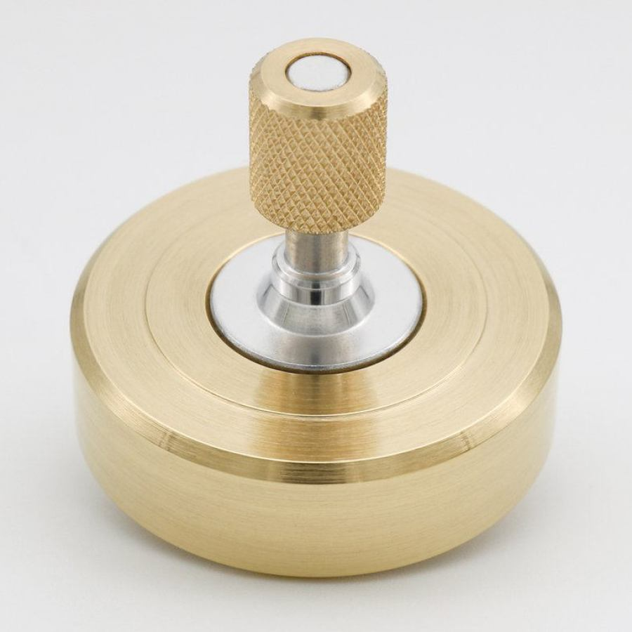 "Exclusive Spinning Top made of Brass and Ruby ""MK1"" (spins 10+ min)"