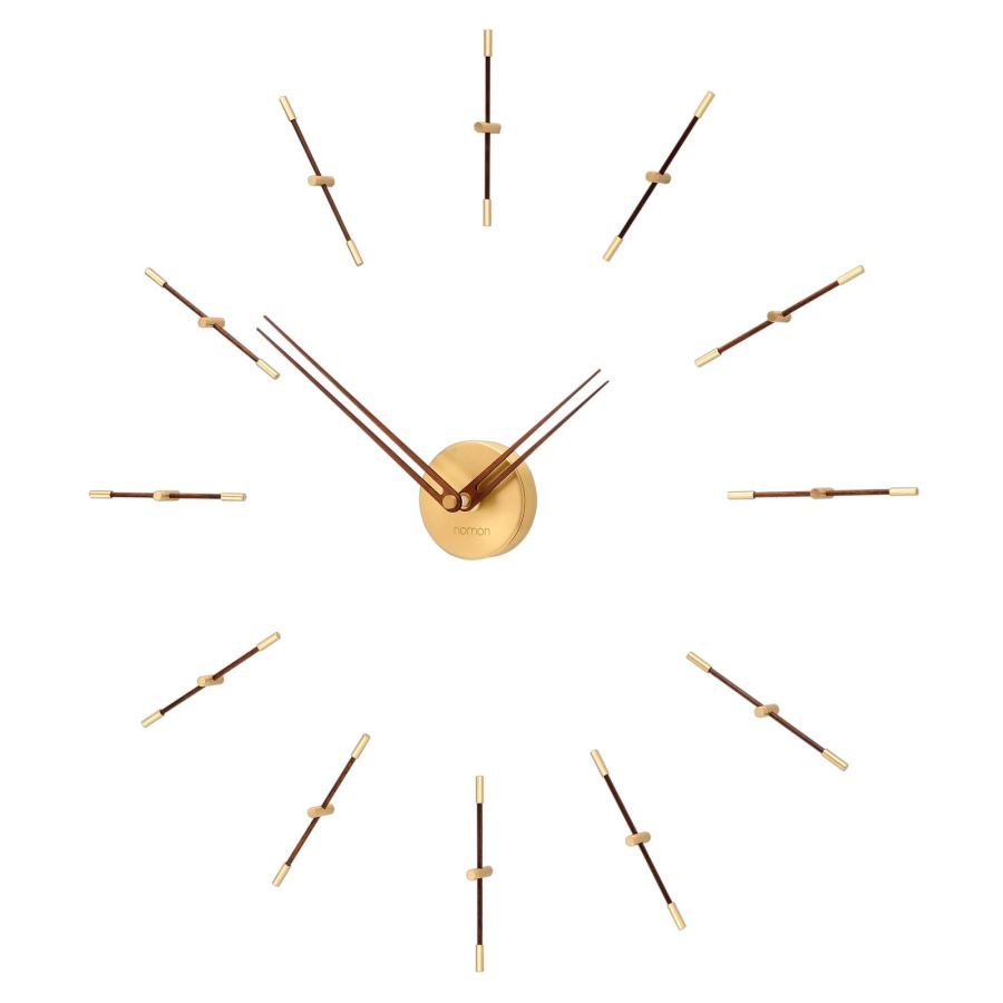 "Filigrane Wall Clock ""Mini Merlin"" made of Steel / Brass / Walnut Ø 70 cm"