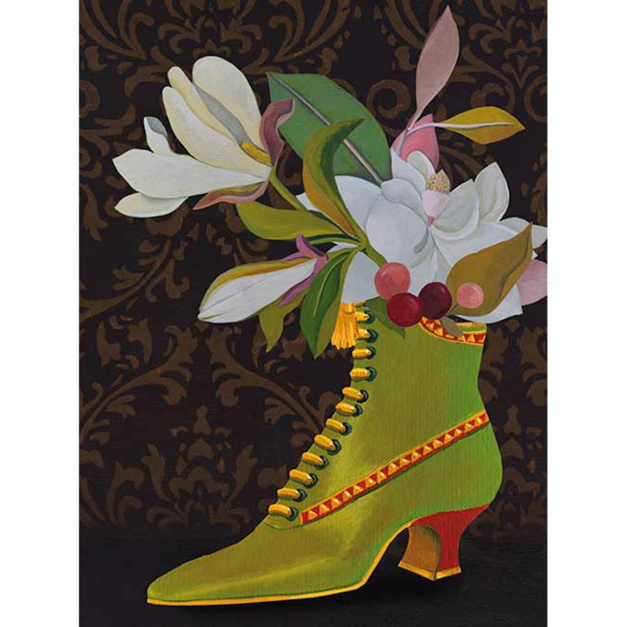 Art Print with Flowers in a Bootee on Non-Woven Paper