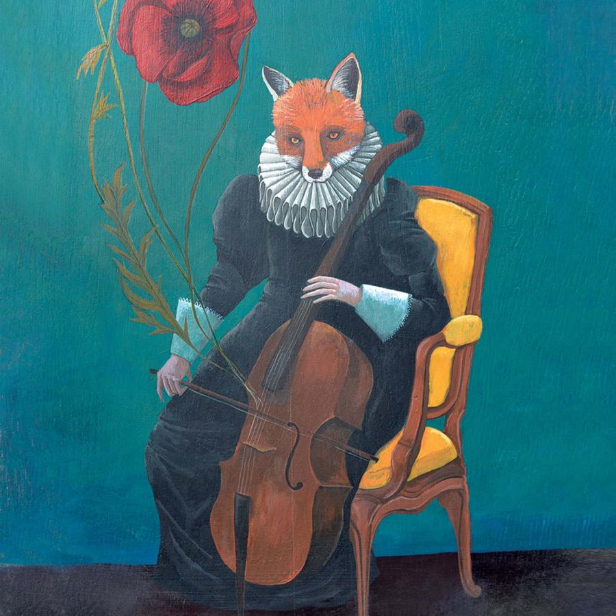 Art Print with Fox Motif on Non-Woven Paper (60 x 80 cm)