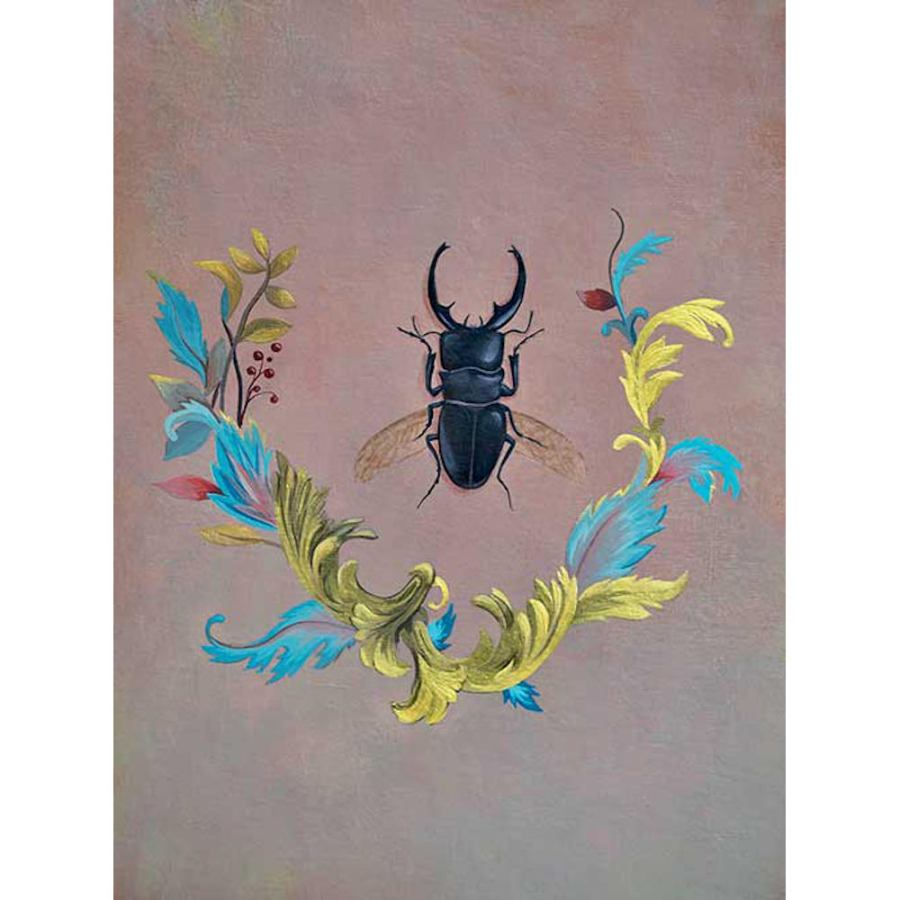 Decorative Poster Size Art Print with Stag Beetle (60 x 80 cm)