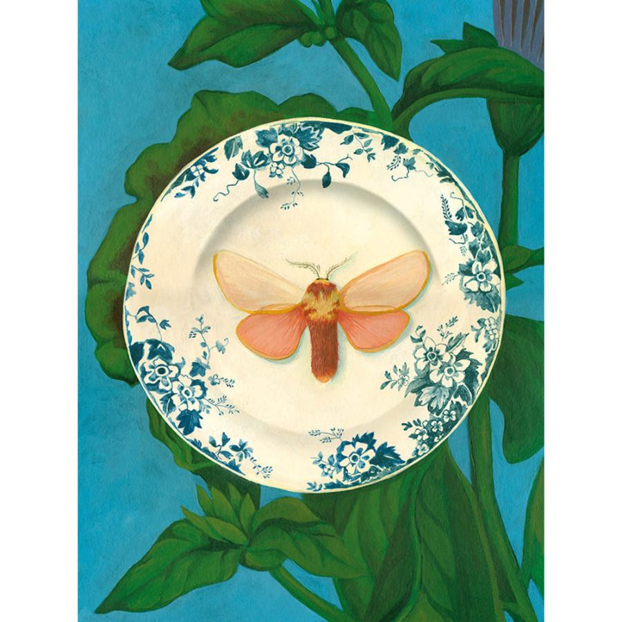 Decorative Poster Size Art Print with Moth and Plate (60 x 80 cm)