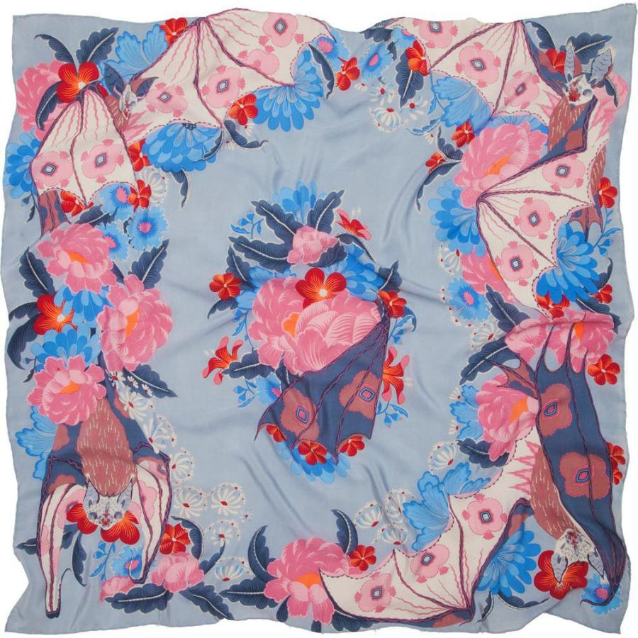"Scarf with Art Print ""Bat & Flowers"" on Pure Silk Crepe (110 x 110 cm)"