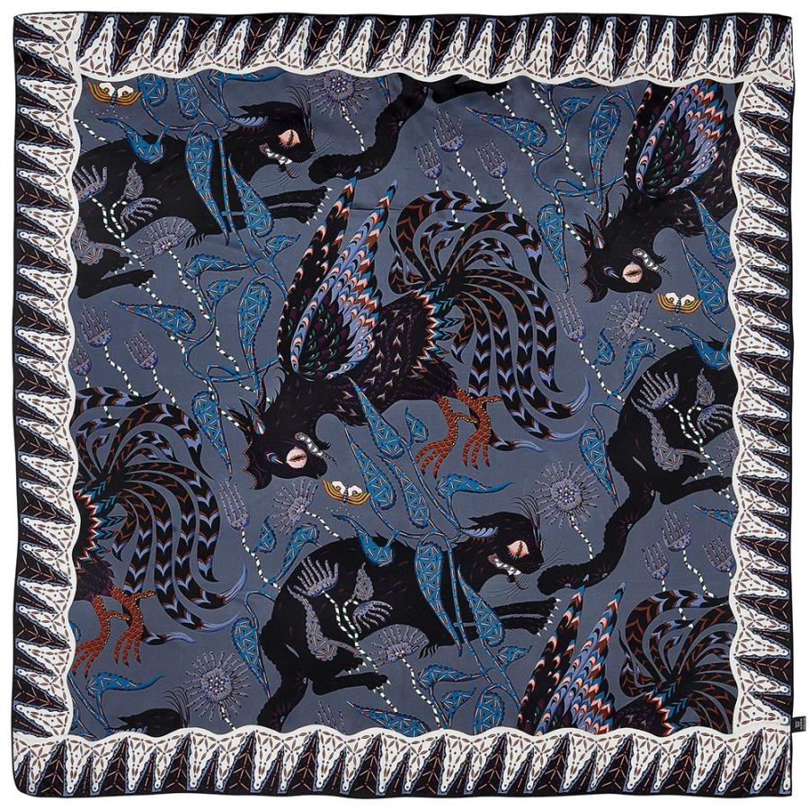 "Scarf with Art Print ""Ferocious Cats"" on Pure Silk Satin (120 x 120 cm)"