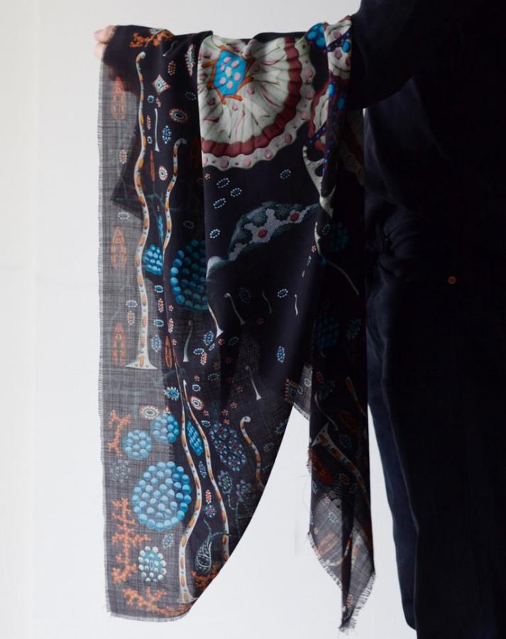 "Black Scarf with Art Print ""Black Lake Odin"" on Wool & Silk"
