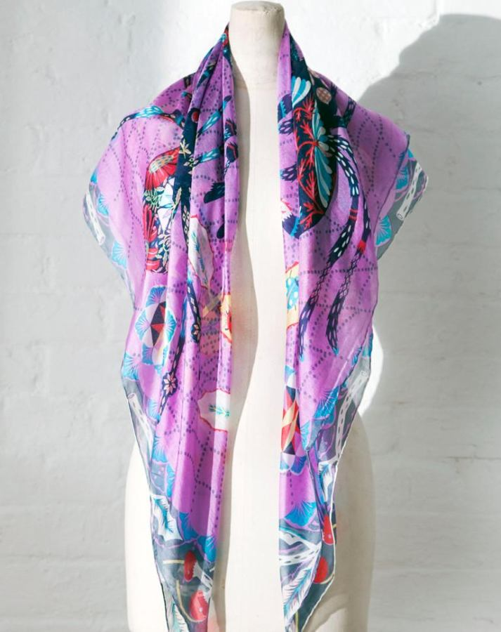 "Scarf with Art Print ""Spiders"" on Pure Silk Chiffon"