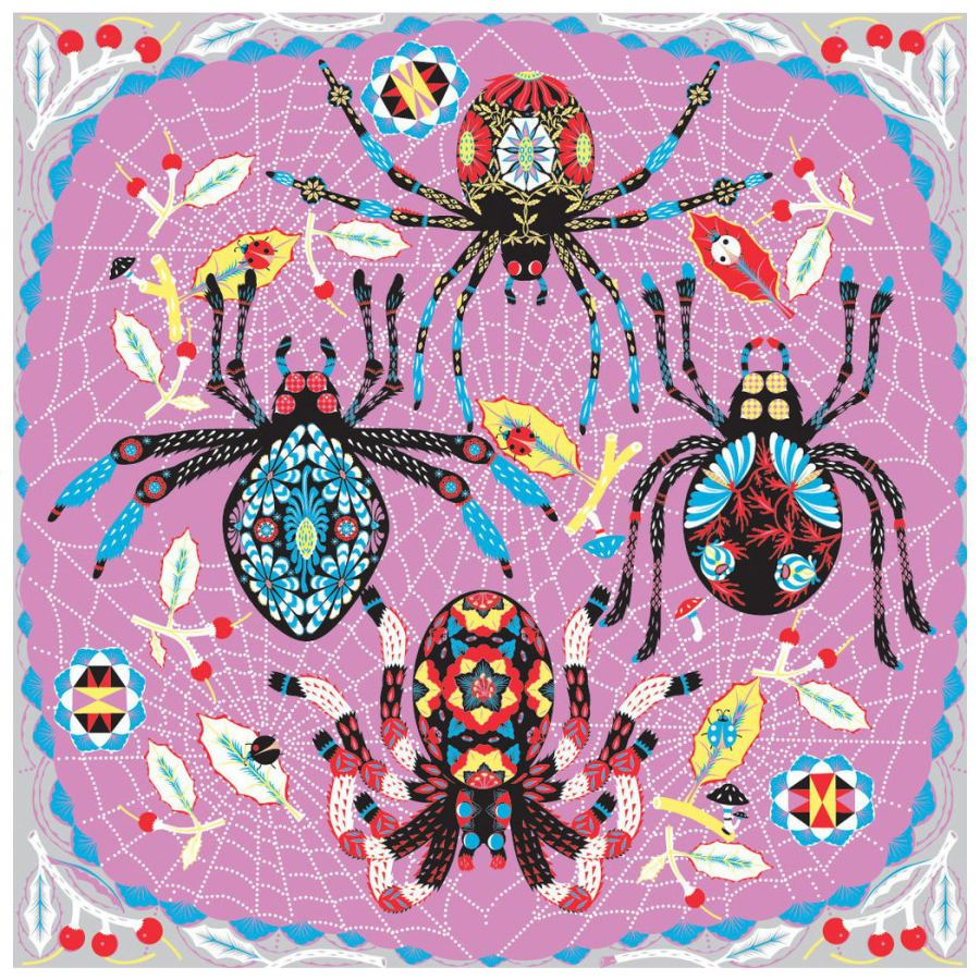 "Scarf with Art Print ""Spiders"" on Pure Silk Chiffon (110 x 110 cm)"