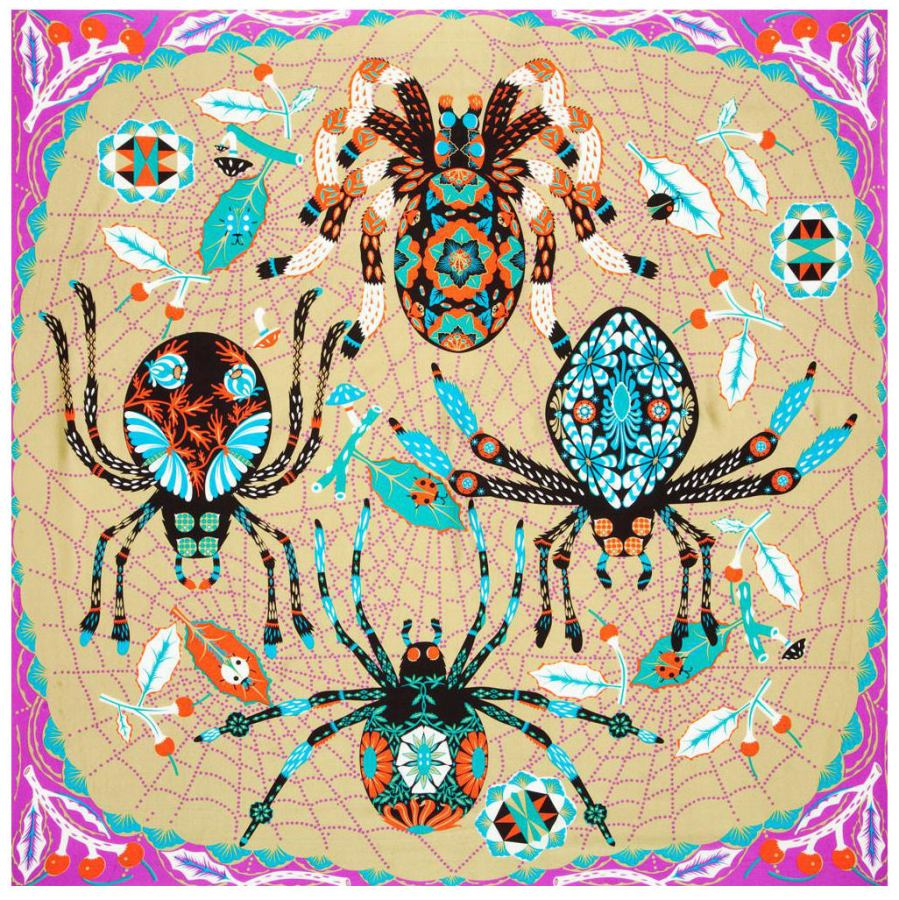 "Scarf with Art Print ""Spiders"" on Pure Silk Satin (110 x 110 cm)"