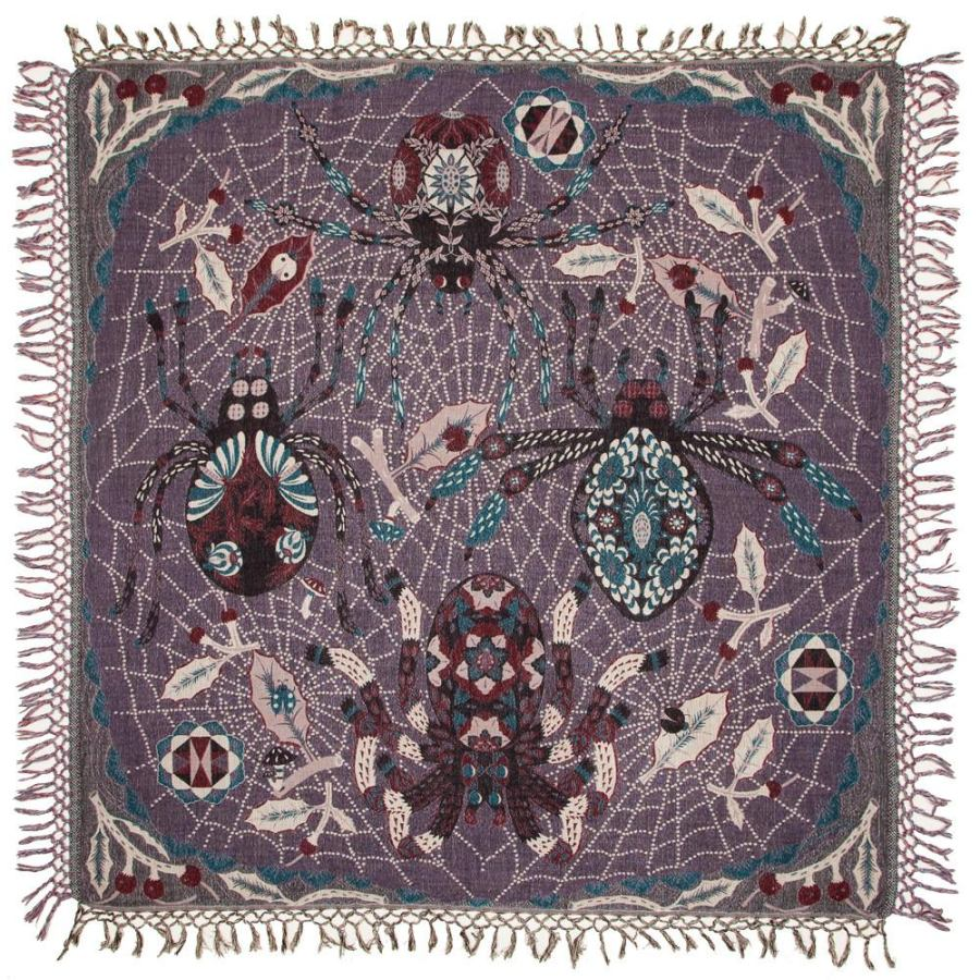Woven Shawl with Spider motif made of Wool & Silk (120 x 120 cm)