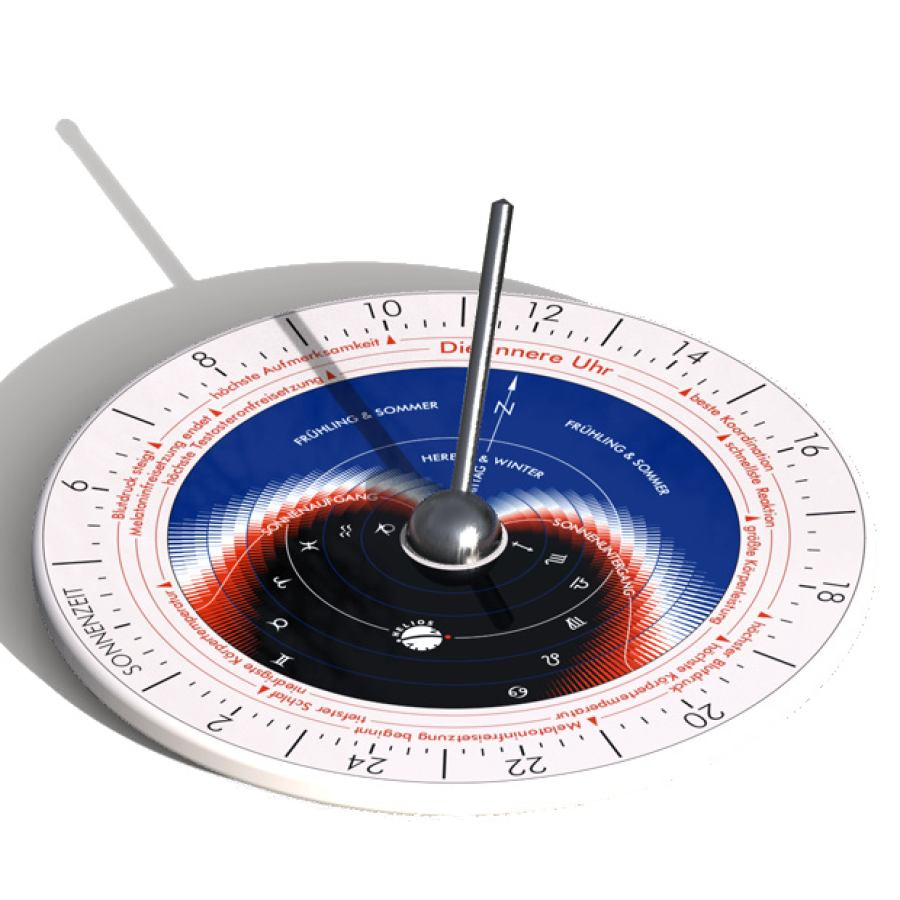 "Sundial ""Hora A"" made of Thuringian Porcelain with Inner Clock for Well-Being (Ø 15,5 cm)"