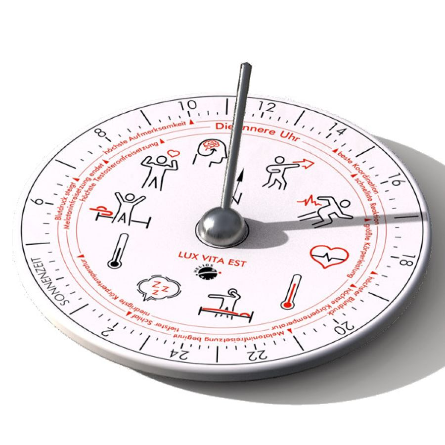 "Sundial ""Hora C"" made of Thuringian Porcelain with Inner Clock for Well-Being (Ø 15,5 cm)"