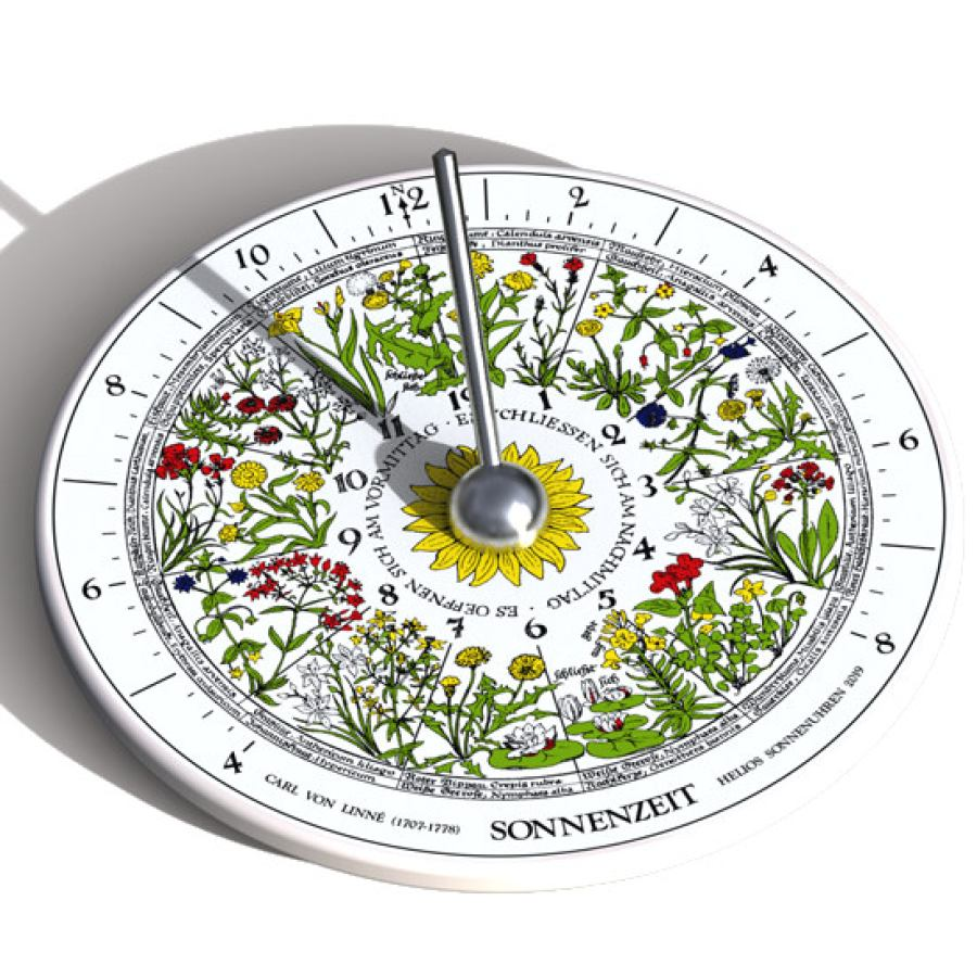 "Sundial ""Hora Floris"" made of Thuringian Porcelain with Flower Clock (Ø 15,5 cm)"