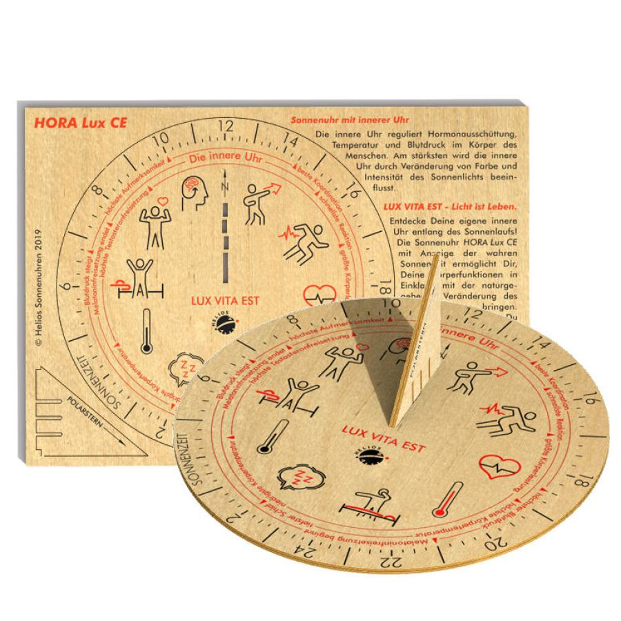 "Sundial ""Hora CE"" made of Wood with Inner Clock for Well-Being (Ø 10 cm)"