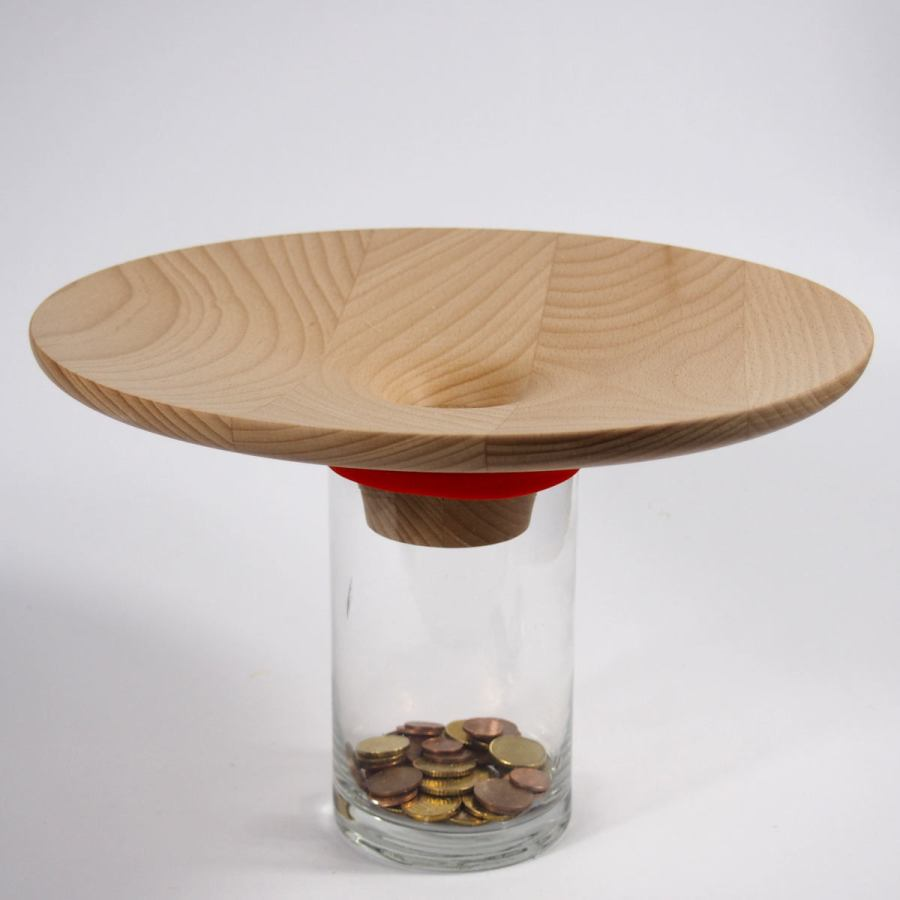 Money Box with Wooden Coin Funnel – Large Version