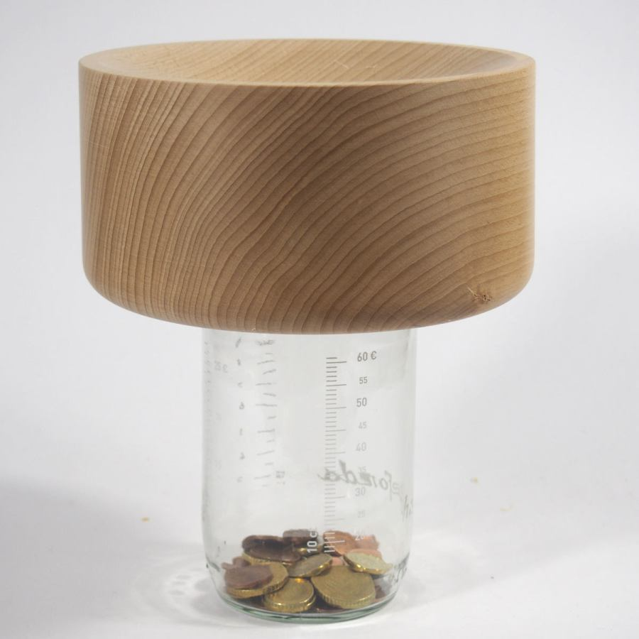 Money Box with Wooden Coin Funnel – Medium Version
