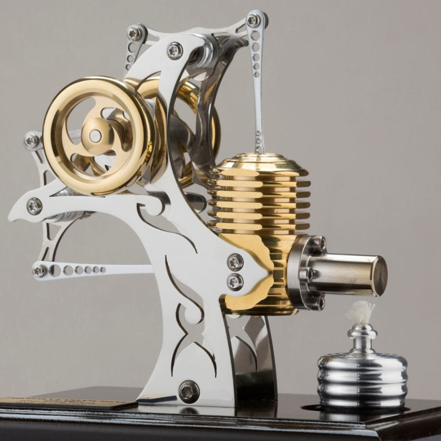Upright Stirling Model Engine with Tattoo Decor