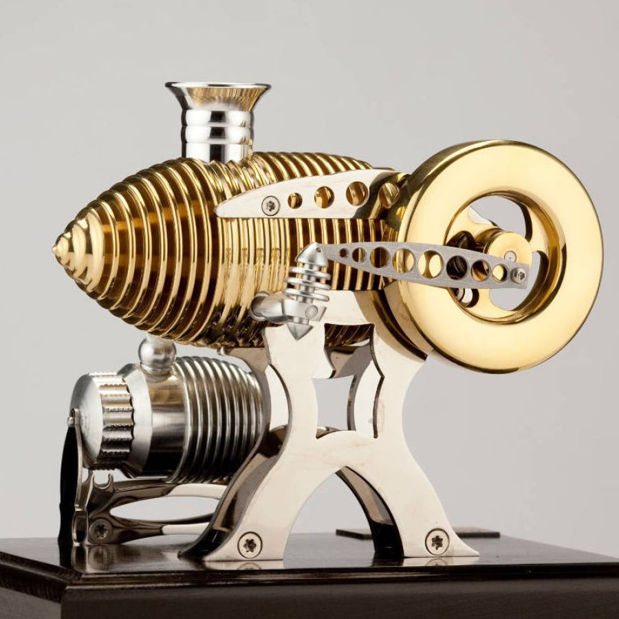 Cigar-shaped Flame Eater Engine made of Steel and Brass