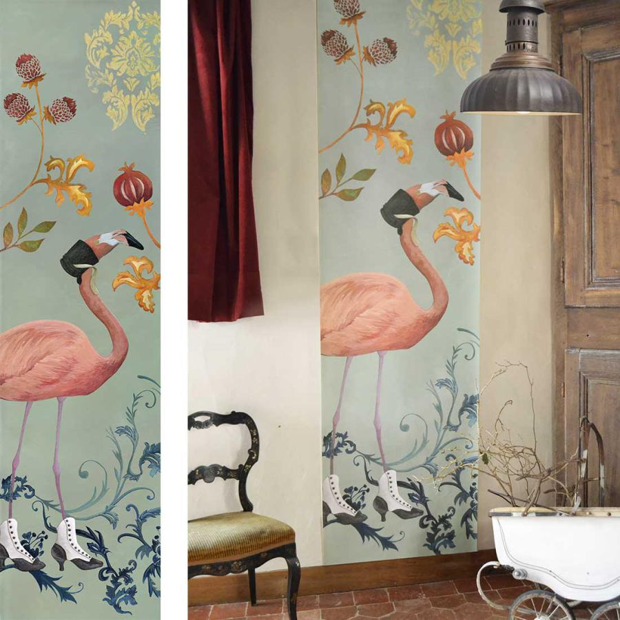 "Wallpaper Art Print ""Flamingo"" (64 x 250 cm)"