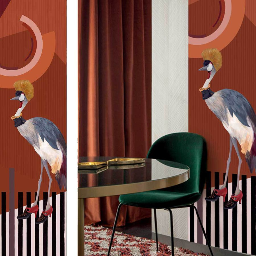 Wallpaper Art Print with Crowned Crane Image (64 x 250 cm)