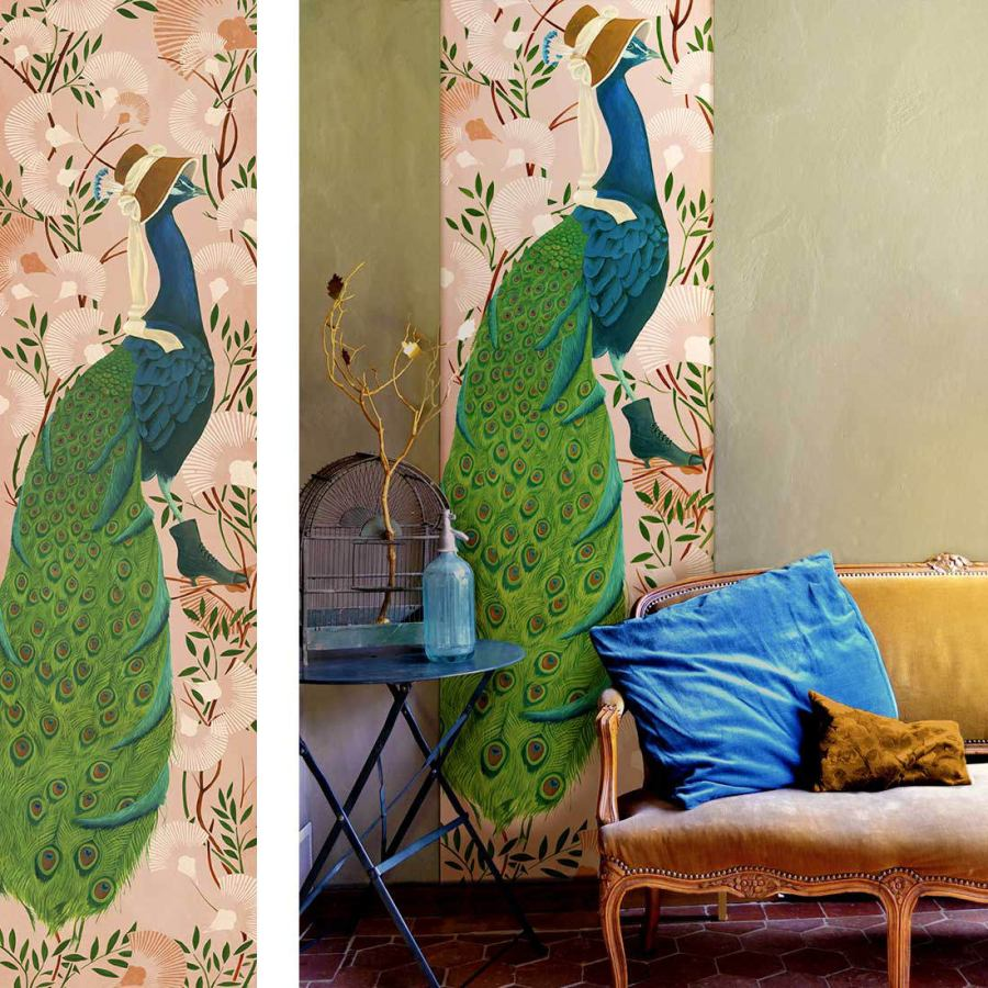 Wallpaper Art Print with Peacock Image (64 x 250 cm)