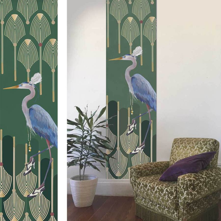 Wallpaper Art Print with Heron Image (64 x 250 cm)
