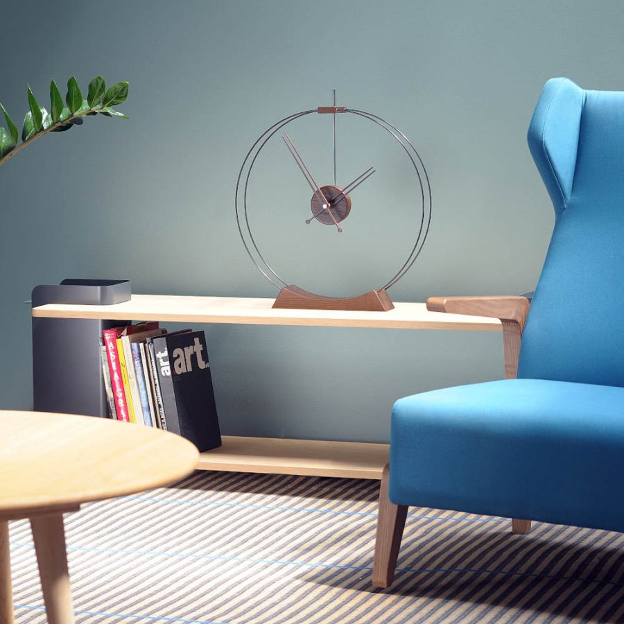 "Airy Design Table Clock ""Aire"" made of Wood and Fibre Glass Ø 50 cm"