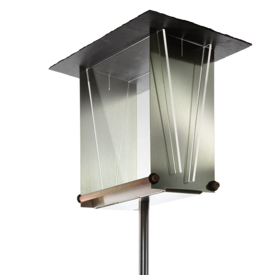Transparent Birdhouse made of stainless steel, slate, wood & acrylic glass (square)