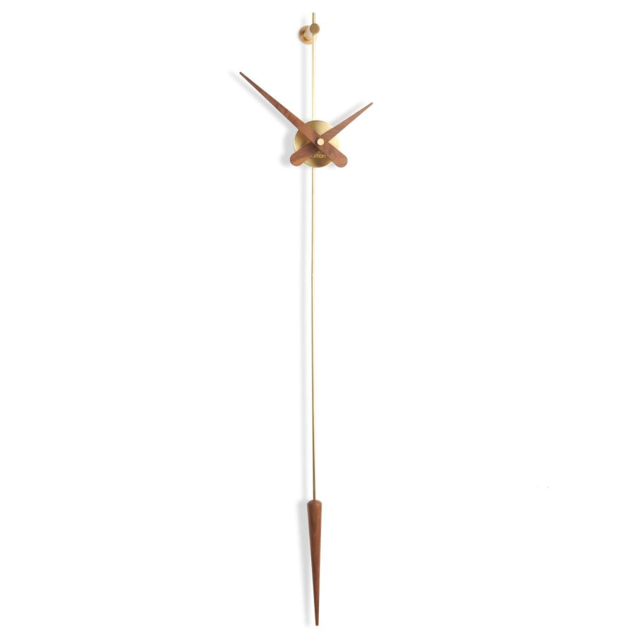 "Suspended Design Wall Clock ""Punto y coma"" made of Steel / Brass / Walnut Ø 37 cm"