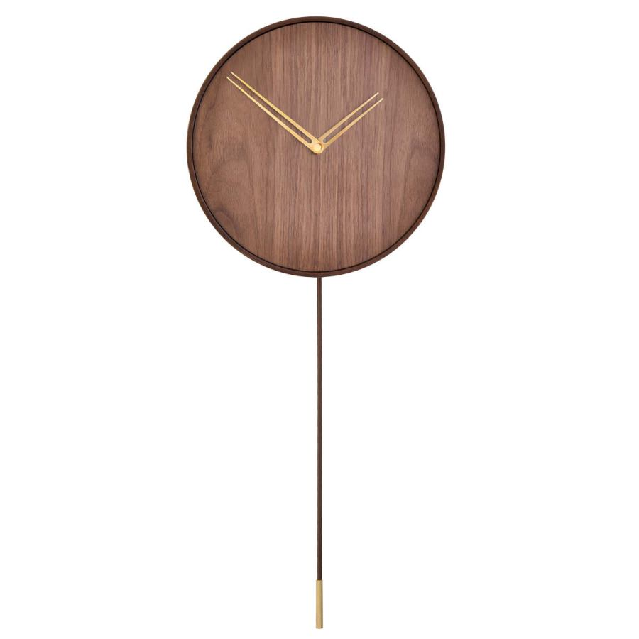 "Handcrafted Design Wall Clock ""Swing"" made Walnut Wood Ø 34 cm"
