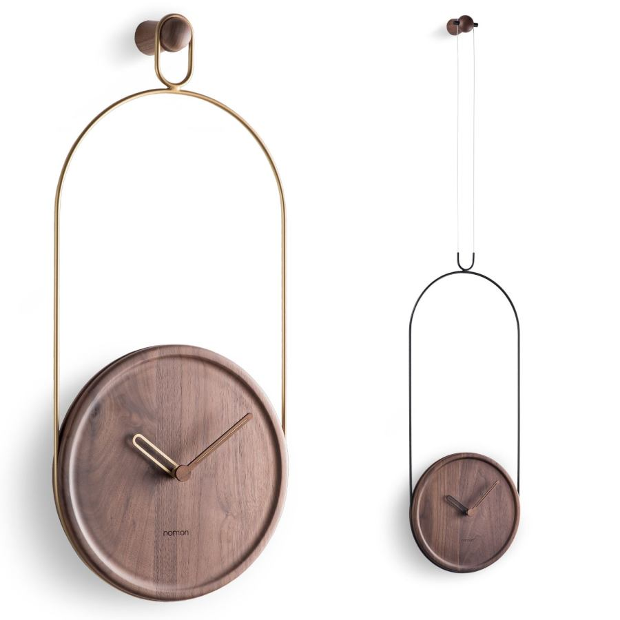 Suspended wall clock made of walnut wood Ø 30 cm
