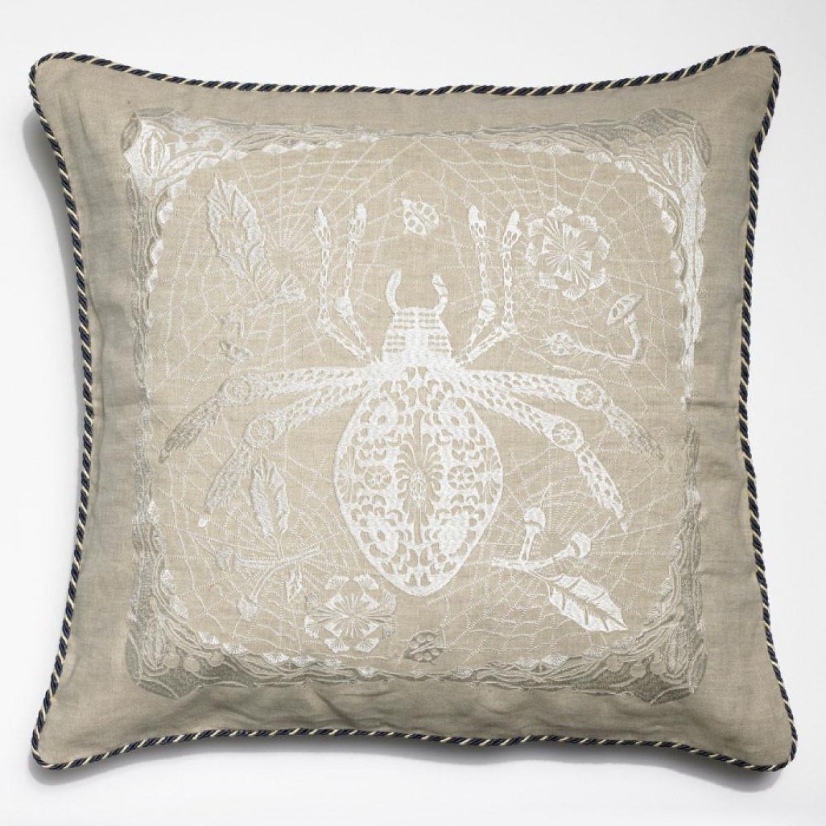 Embroidered cushion ,Spider and a Ladybug' | Kunstbaron