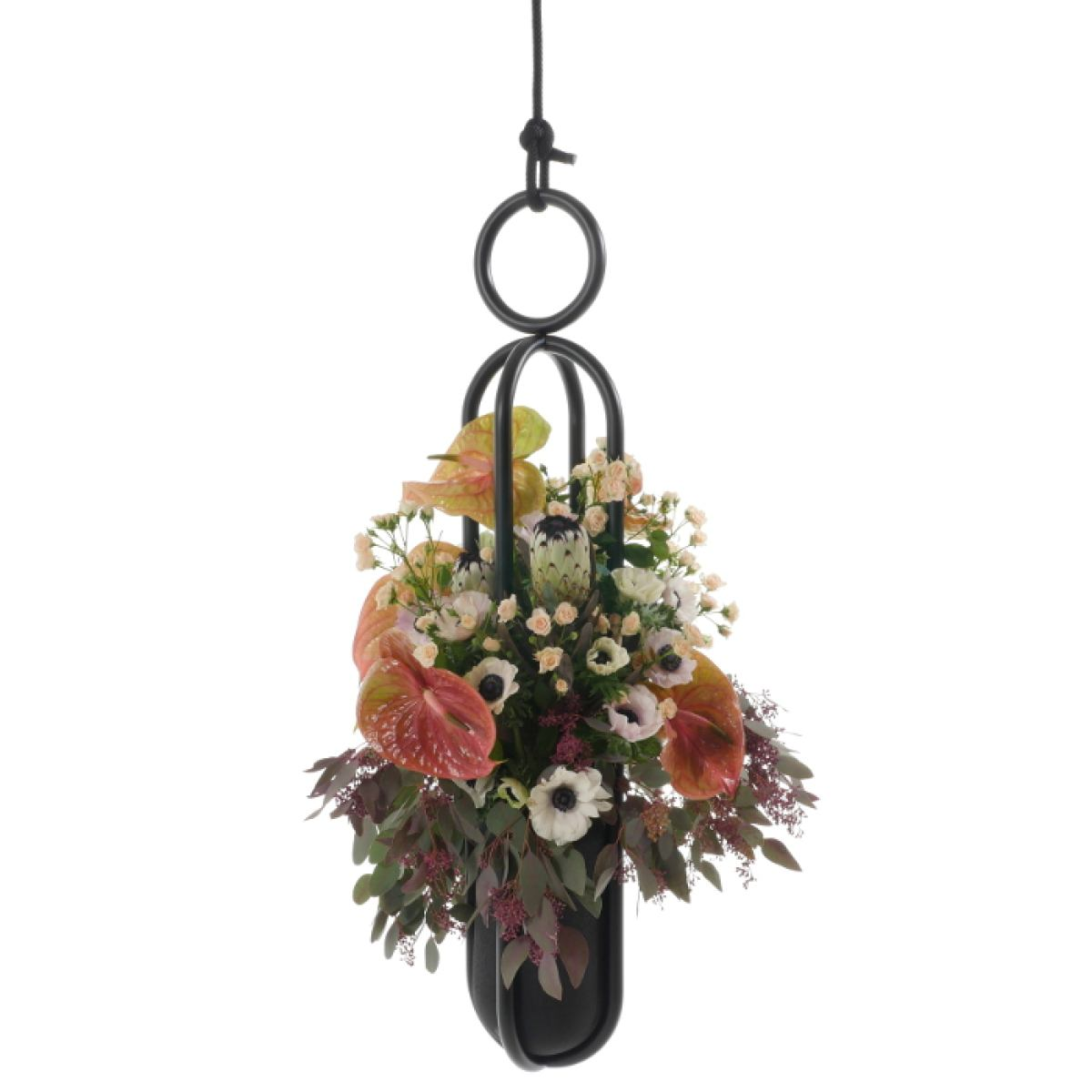 Upright flower suspension (pot or vase) with handmade rubber container